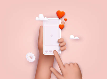 Hand holding mobile smart phone with social media app. Smartphone with interface post on social network. 3D Web Vector Illustrations. Ilustração