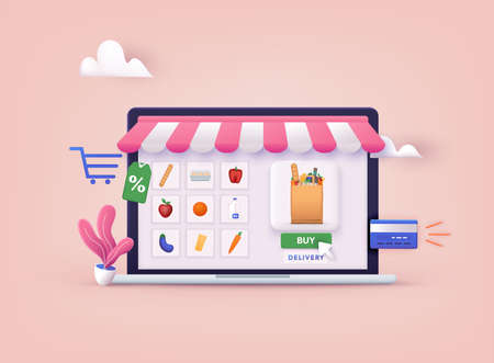 Online Grocery Store shopping concept. Order and Delivery in Online Supermarket. 3D Web Vector Illustrations.