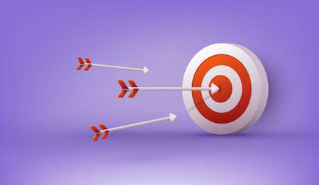 Archery target and arrow. Design for sport game and business. 3D Web Vector Illustrations.