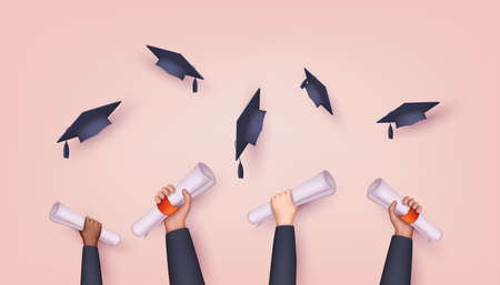 Graduating students of pupil hands in gown throwing graduation caps. Hands holding diploma graduation. 3D Web Vector Illustrations.