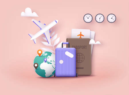 Business trip banner with passport, tickets, travel bag. 3D Web Vector Illustrations.