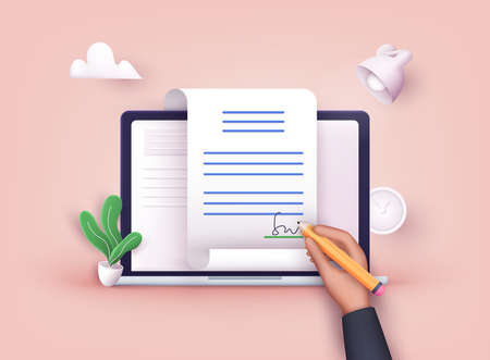 Man putting esignature into legal document. Digital signature concept. Businessman signing an agreement or contract online. 3D Web Vector Illustrations.