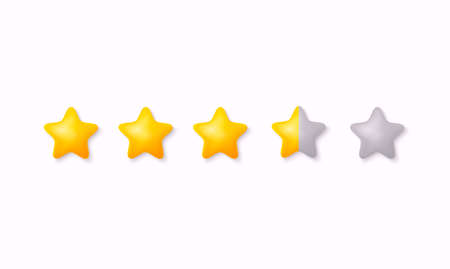 Rating stars icon for review product. Collection icon design for game, ui, banner, design for app, interface, game development. 3D Vector Illustrations.