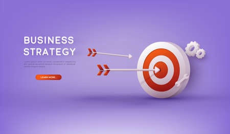Business strategy. Landing page template. Business analysis, content strategy and management concept. 3D Vector Illustrations.