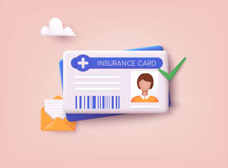 Medical insurance card icon. 3D Web Vector Illustrations.