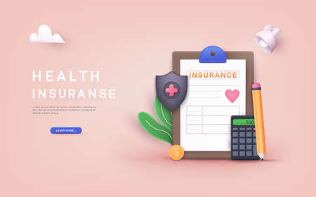 Health Insurance Contract. Health insurance concept. 3D Web Vector Illustrations.