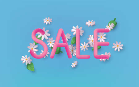 Summer Sale 3d text vector banner design with Daisy Flowers on a background. 3D Web Vector Illustrations.