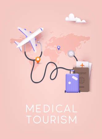Medical tourism. 3D Vector Illustrations. Ilustração