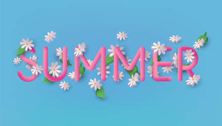 Summer 3d text vector banner design with Daisy Flowers on a background. 3D Web Vector Illustrations.