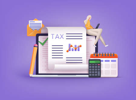 Online Tax payment. Filling tax form. Calendar show Tax Payment Date. Accounting and Financial Management Concept. 3D Web Vector Illustrations.
