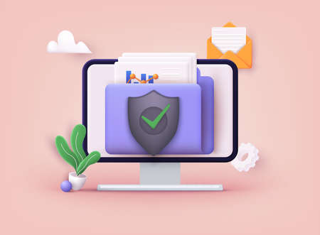 Secure confidential files folder with paper documents access and private lock. 3D Vector Illustrations.