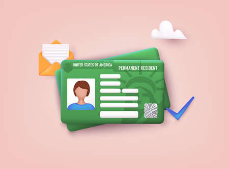 Permanent Residency Card. Green card concept. 3D Web Vector Illustrations.