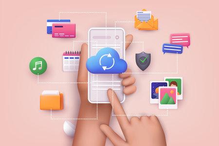 Cloud computing upload and download data online service with mobile phone. Polygonal wireframe cloud storage sign. 3D Web Vector Illustrations. Ilustração