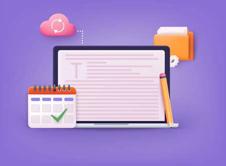Writer workplace and computer. Content marketing, digital advertising, website marketing, social media marketing. Ilustração