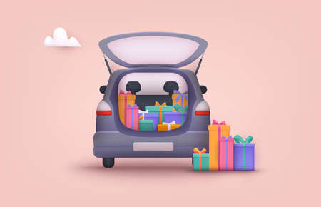 An opened car trunk filled with gift boxes. 3D Web Vector Illustrations.