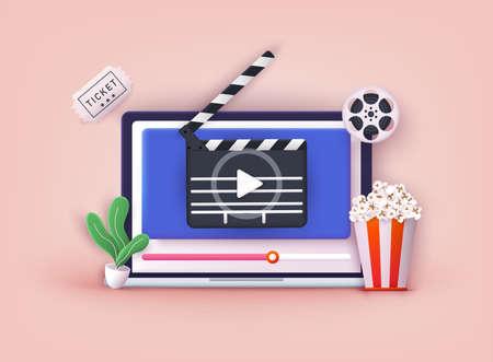 Concept of online home cinema. Bucket for popcorn, film strip and reel. Filmmaking banner. 3D Web Vector Illustrations.
