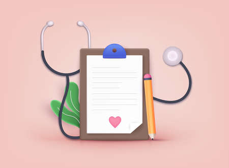 Medical checkup as annual doctor health test appointment tiny person concept. Health insurance concept. 3D Web Vector Illustrations.