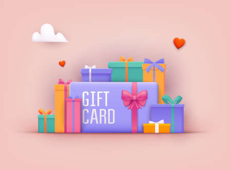Gift card and promotion strategy, gift voucher, discount coupon and gift certificate concept. 3D Web Vector Illustrations.