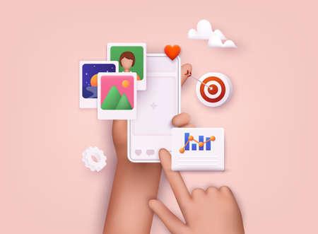 Hands holding smartphone with online platform. Influencer marketing, social media or network promotion, SMM banner, landing page, flyer. 3D Web Vector Illustrations.