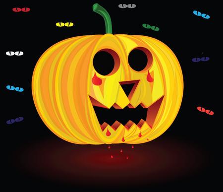 halloween pumpkin, scary pumpkin, illustration pumpkin, vector pumpkin, eps pumpkin, image pumkin, pumpkin food, nature pumpkin, vegetarian pumpkin, tradition pumpkin, festival Halloween, blood pumpkin, pumpkin beautiful, bloody pumpkin,  pool of blood, b Vector
