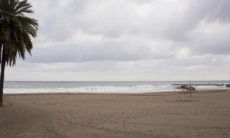 View of the winter sea. Wet sand, empty beach, cold sea, gray rain clouds. Sadness Depression. Cold wind.