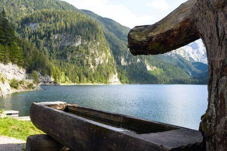 Beautiful Austrian landscape. European Alps, coniferous forest and lake on a warm sunny day. Gosauzen Region, Austria