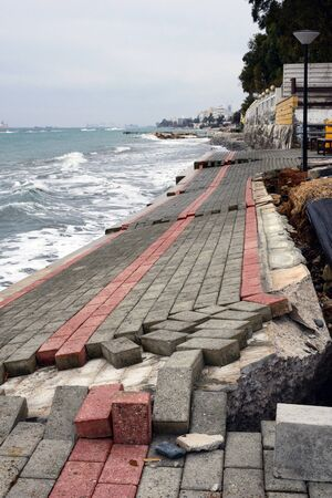 Destroyed by a storm promenade in Limassol on the island of Cyprus. The aftermath of the hurricane.