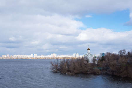 Dnipro, Ukraine, March 2021 St. Nicholas Church on Monastyrsky Island in early spring. Sights of the city of Dnipro. Travel Ukraine.