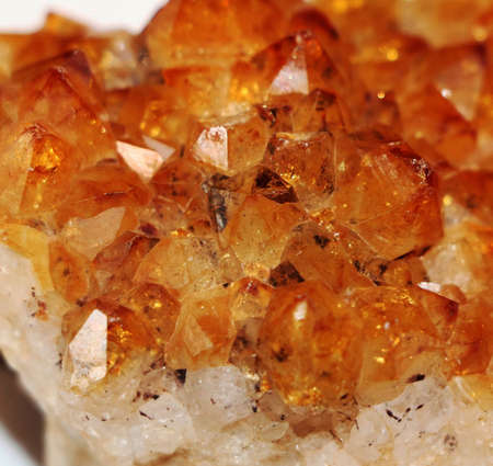 Russia - February 2021: Citrine crystal. Close-up. From a personal collection.