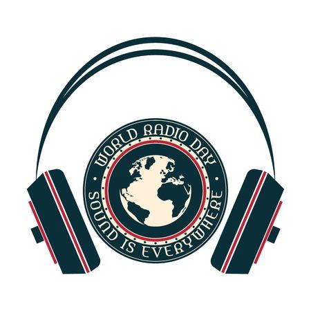 attrition: World Radio Day vintage icon in three colors. Illustration