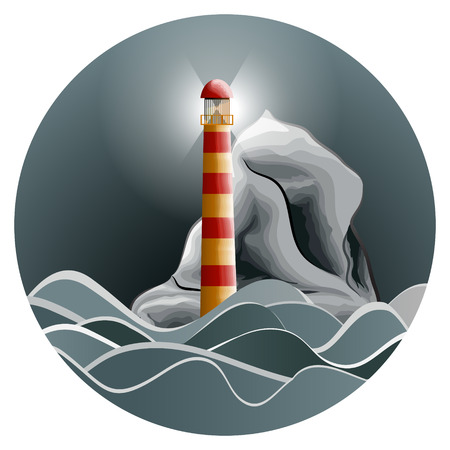 Lighthouse in the night stormy sea. Vector illustration.