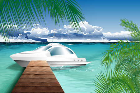 Ocean landscape with yacht and crystal blue water. Vector illustration. Illustration