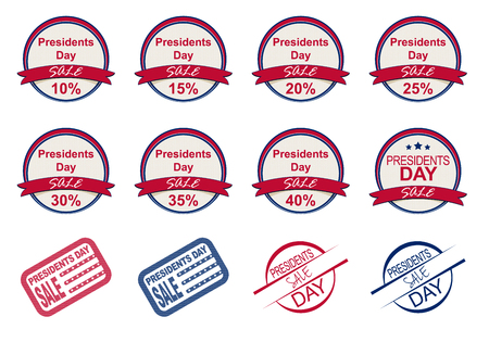 presidential: Presidents Day sale labels and stamps isolated on white. Sale icons. Vector illustration. Eps 10. Illustration