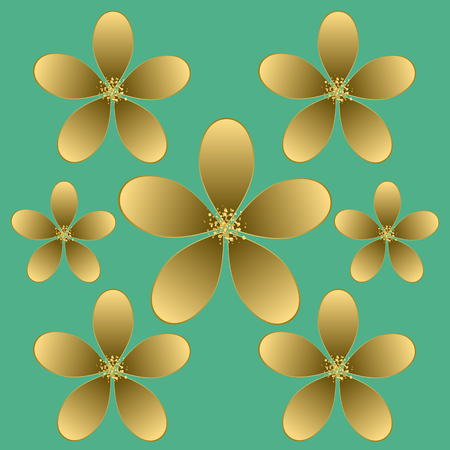Golden flower seamless pattern.
