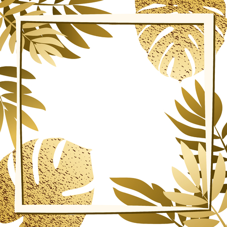 Golden tropical leaves with frame. Vector illustration. eps 10
