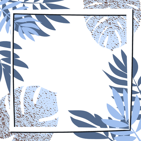 Blue tropical leaves with frame. Vector illustration. eps 10