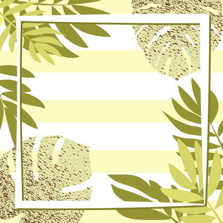Green tropical leaves with frame. Striped background. Vector illustration. eps 10 Illustration