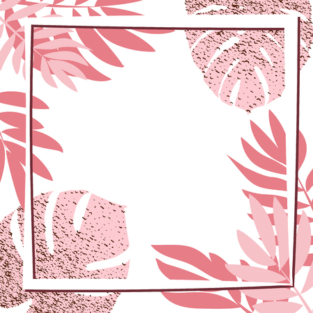 Pink tropical leaves with frame. Vector illustration. eps 10