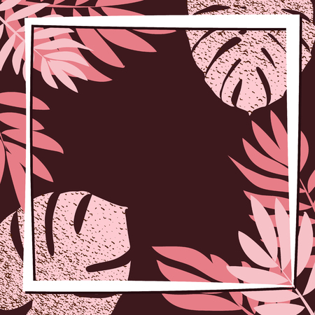 Pink tropical leaves on the dark background. Vector illustration. eps 10