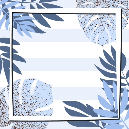 Blue tropical leaves with frame. Striped background. Vector illustration. eps 10
