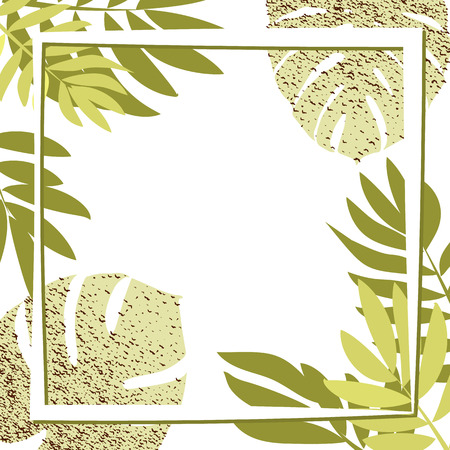 Green tropical leaves with frame. Vector illustration. eps 10 Illustration