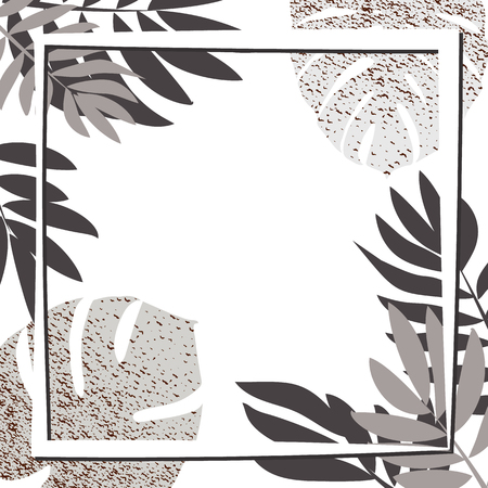 Silver tropical leaves with frame. Vector illustration. eps 10