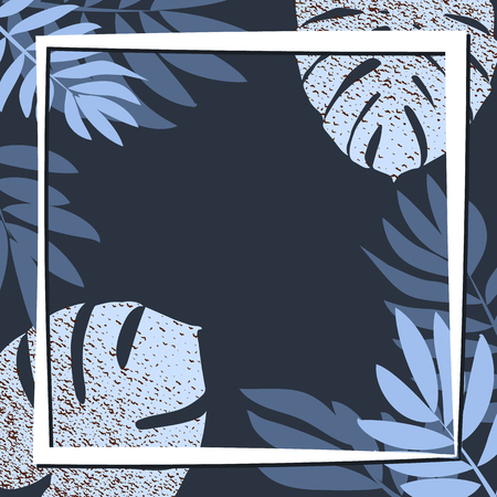 Blue tropical leaves on the dark background. Vector illustration. eps 10
