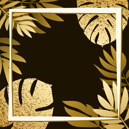 Golden tropical leaves on the dark background. Vector illustration. eps 10 Illustration