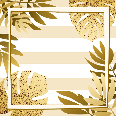 Golden tropical leaves with frame. Striped background. Vector illustration. eps 10