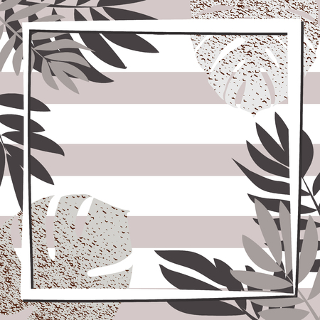 Silver tropical leaves with frame. Striped background. Vector illustration. Illustration