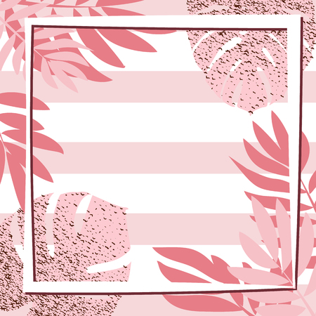 Pink tropical leaves with frame. Striped background. Vector illustration.