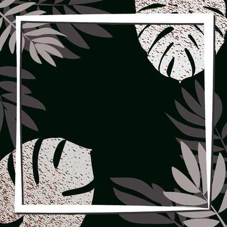 Silver tropical leaves on the dark background. Vector illustration. eps 10