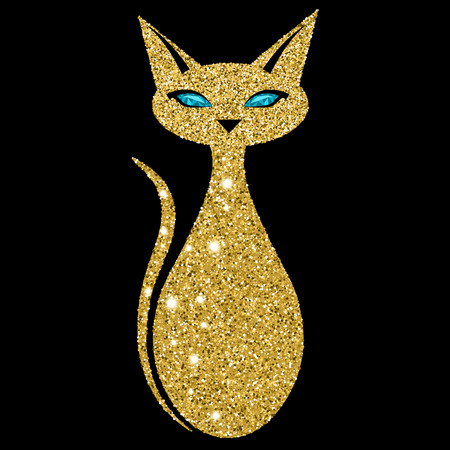 Golden cat with sapphire eyes. Vector illustration