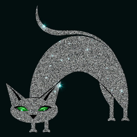 Silver cat with green eyes. Vector illustration. Eps 10 Illustration